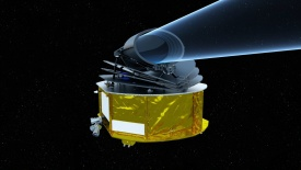 Illustration of the Ariel space telescope. ESA/STFC RAL Space/UCL/UK Space Agency/ ATG Medialab