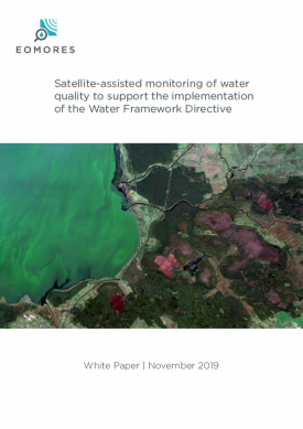 """Cover of White Paper """"Satellite-assisted monitoring of water quality to support the implementation of the Water Framework Directive"""""""