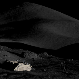 Illustration of the Milrem Robotics' rover on the Moon. The image is illustrative and does not exhibit the actual rover. The surface of the Moon has been modelled, using similar methods as planned during the project: based on lunar remote sensing data and photos from the Apollo missions. Credit: Mihkel Pajusalu