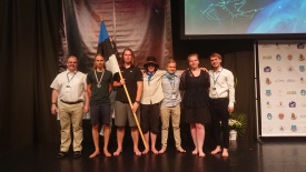 The Estonian team with the mentors. Photo: organizational crew
